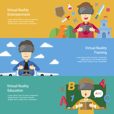 virtual reality: virtual reality applications in flat design style