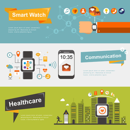 design abstract: smart watch banners design in flat design