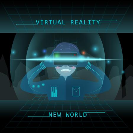 l'expérience de la réalité virtuelle dans un style design plat