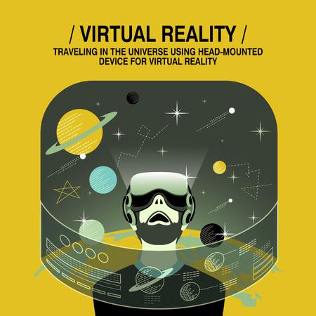 experiencia de realidad virtual en el estilo de diseño plano