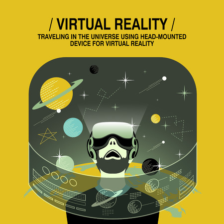 virtual technology: virtual reality experience in flat design style