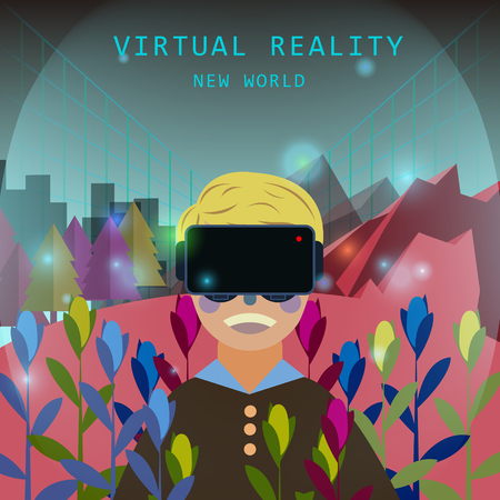 brand new: virtual reality experience in flat design style