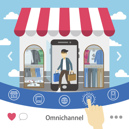 channel: omni-channel shopping experience design in flat style Illustration