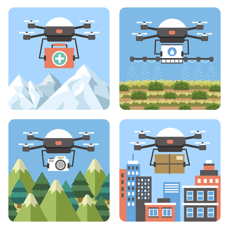 unmanned: drones applications in different fields in flat design