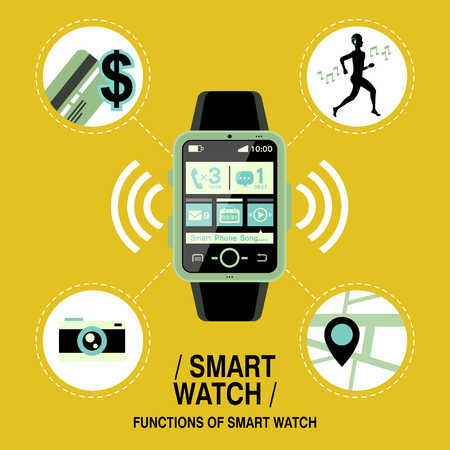 multifunction: multifunction smart watch in flat design style