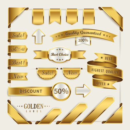 elegant golden ribbon label collection set for retail usage Vectores
