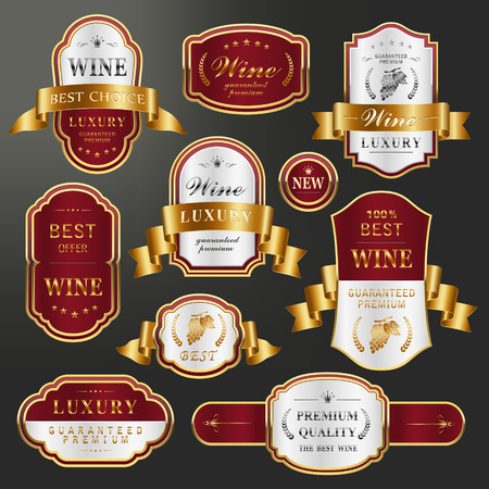 elegant golden labels collection set for premium wine