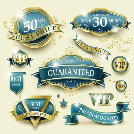 golden ribbon: elegant blue golden frame label collection set for retail usage