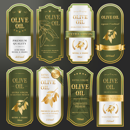elegant golden labels collection set for premium olive oil Vectores