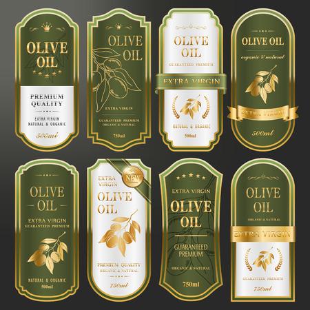 dorado: elegante colección de etiquetas de oro fijado para el aceite de oliva de alta calidad