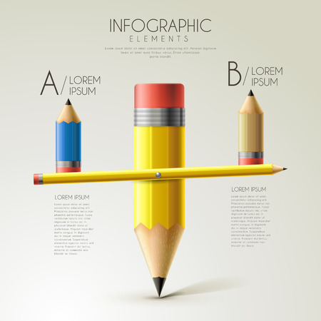 teach: lovely education infographic template design with pencil seesaw