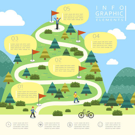 mountain road: mountain hiking infographic template design in flat style