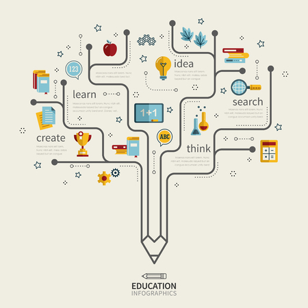 education infographic design with pencil tree and icons Stock Vector - 53128311
