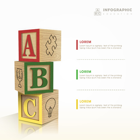 toy blocks: education infographic template design with toy blocks element Illustration