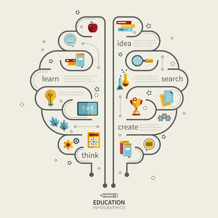 teach: education infographic design with human brain and icons Illustration
