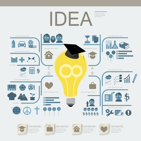 competencias laborales: diseño educación infografía plantilla con el elemento bombilla