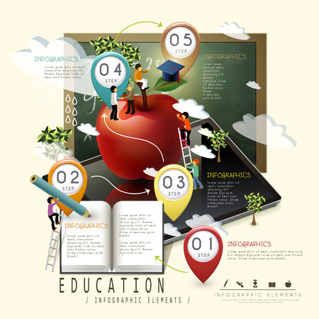 education infographic template design for online learning concept