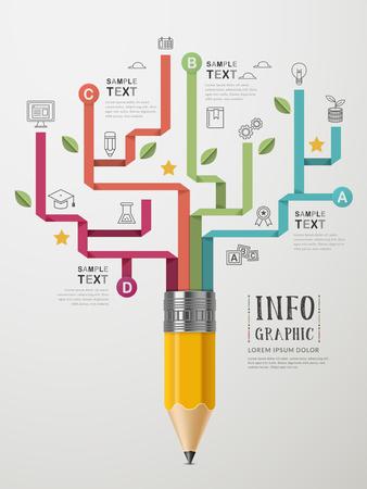 la enseñanza del diseño plantilla de infografía con elementos de lápiz Foto de archivo - 53128244