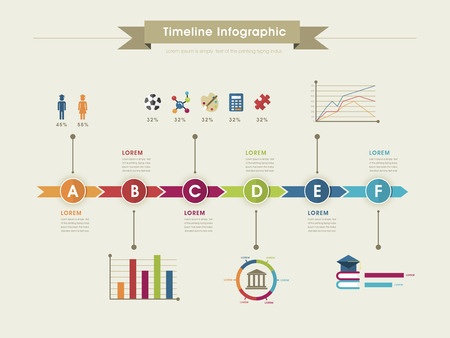 progress: education infographic template design with timeline chart Illustration