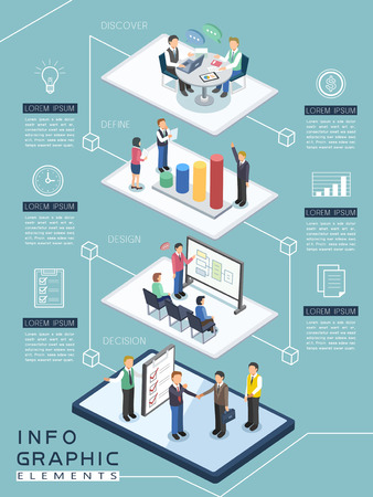 meeting process infographic template design in flat 3d isometric style