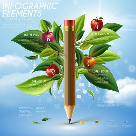 연필 나무와 교육 인포 그래픽 템플릿 디자인