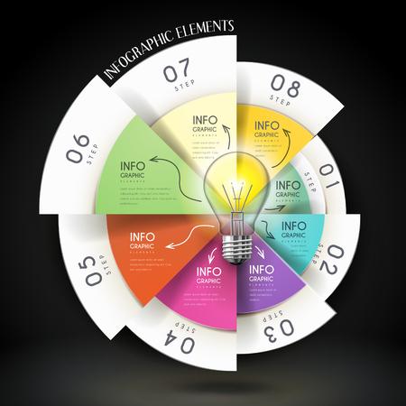 원형 차트와 전구 교육 infographic 템플릿 디자인