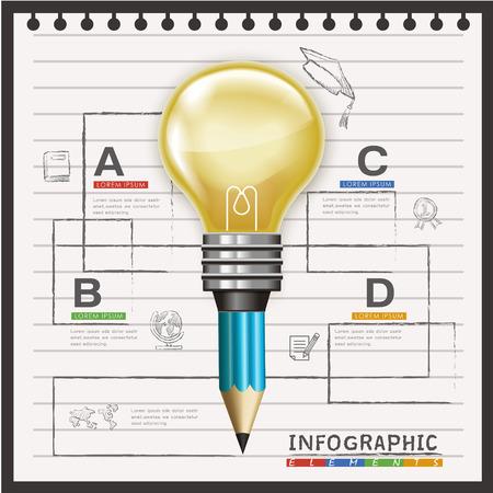 조명 전구 및 연필 요소와 교육 infographic 템플릿 디자인