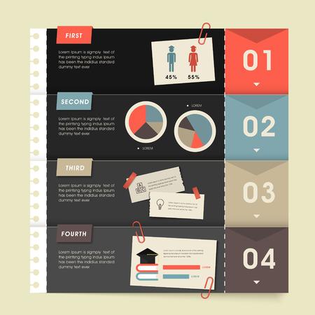 la enseñanza del diseño plantilla de infografía con el papel de nota