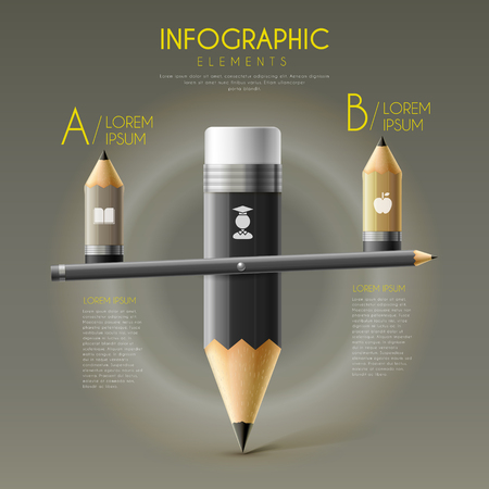 seesaw: education infographic template design with pencil seesaw Illustration