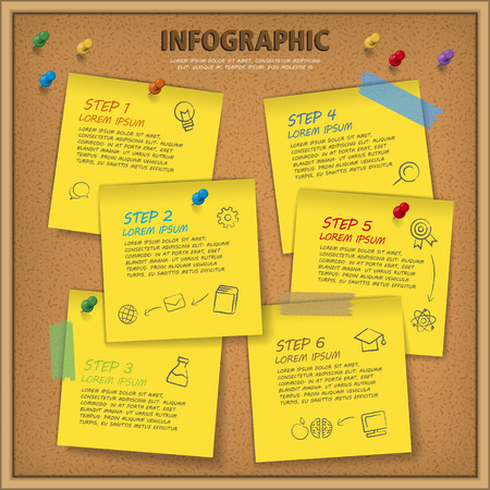 paper note: education infographic template design with bulletin board and note paper