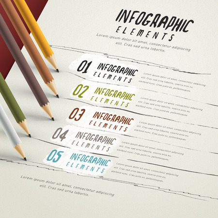 education infographic template design with pencil and paper