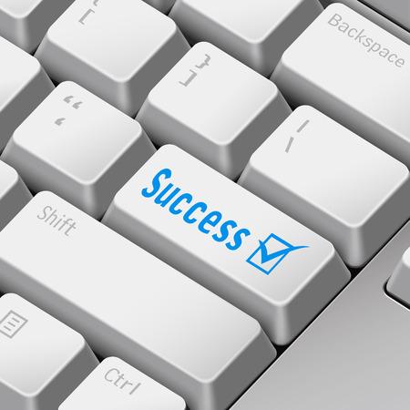 enter key: message on 3d illustration keyboard enter key for success concepts Illustration