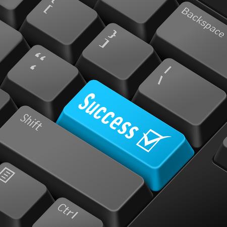 tecla enter: mensaje en el teclado 3d ilustración tecla enter para los conceptos de éxito