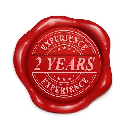 dos años de experiencia 3d ilustración sello de cera roja sobre fondo blanco