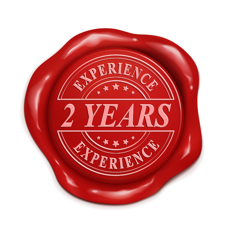 credentials: two years experience 3d illustration red wax seal over white background