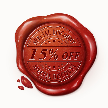 fifteen: fifteen percent off 3d illustration red wax seal over white background Illustration