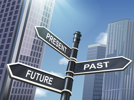 crossroad 3d illustration black road sign saying present and past and future