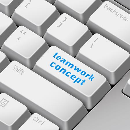 tecla enter: mensaje en el teclado 3d ilustración tecla enter para los conceptos de trabajo en equipo