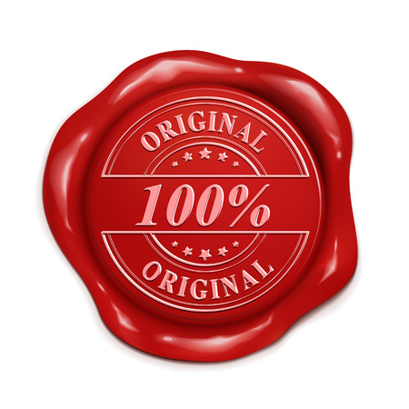 credentials: 100 percent original 3d illustration red wax seal over white background