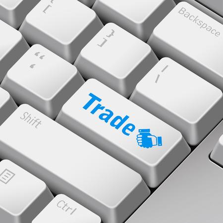 enter key: message on 3d illustration keyboard enter key for trade concepts