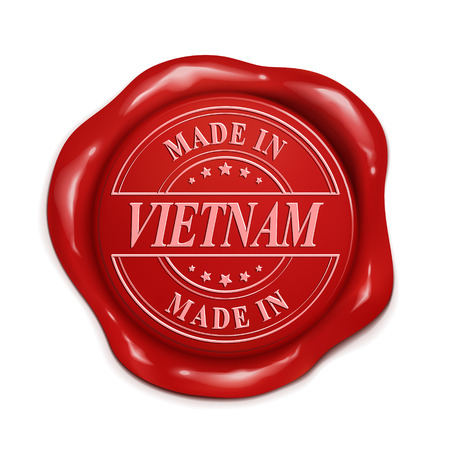 red wax seal: made in Vietnam 3d illustration red wax seal over white background