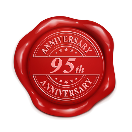 wax seal: 95th anniversary 3d illustration red wax seal over white background