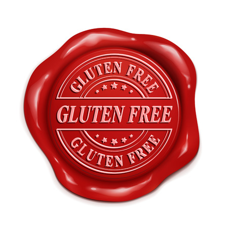 credentials: gluten free 3d illustration red wax seal over white background Illustration