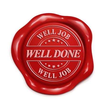 well done 3d illustration red wax seal over white background
