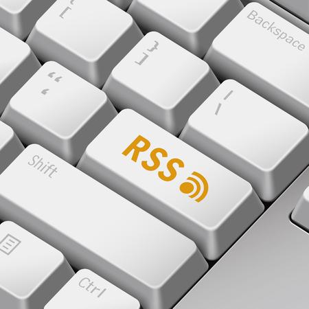 enter key: message on 3d illustration keyboard enter key for rss concepts