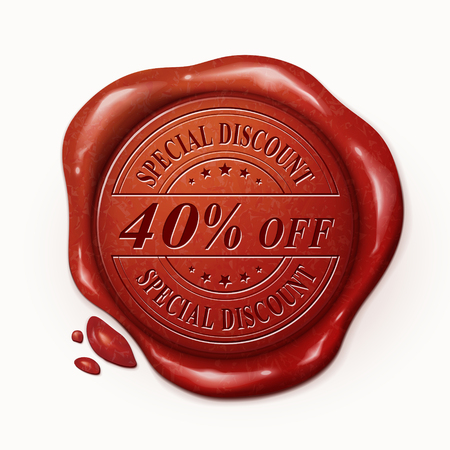 red wax seal: forty percent off 3d illustration red wax seal over white background