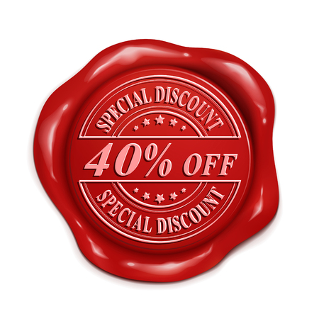 wax seal: forty percent off 3d illustration red wax seal over white background