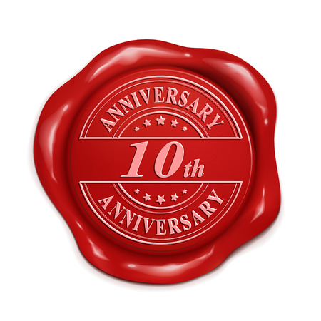 10th: 10th anniversary 3d illustration red wax seal over white background