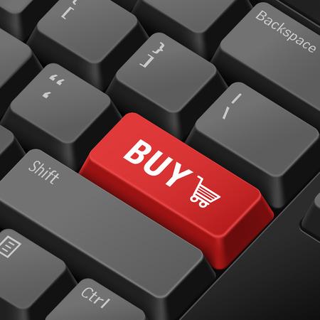 tecla enter: mensaje en el teclado 3d ilustración tecla enter por conceptos de compras en línea Vectores