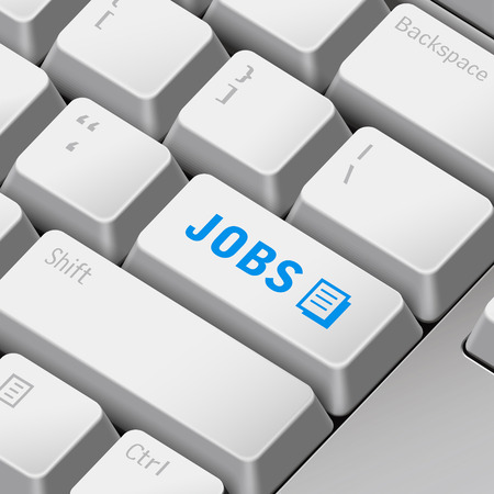 jobless: message on 3d illustration keyboard enter key for jobs concepts